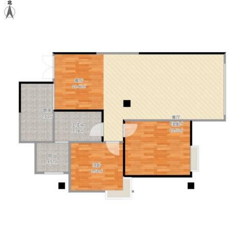 万兴・和睦人家2室1厅1卫1厨88.00㎡户型图