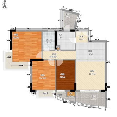 自在城市花园3室0厅1卫1厨95.00㎡户型图