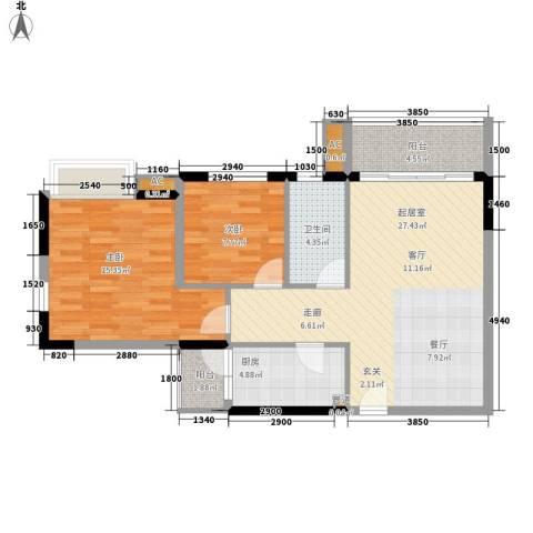 云山熹景2室0厅1卫1厨78.00㎡户型图