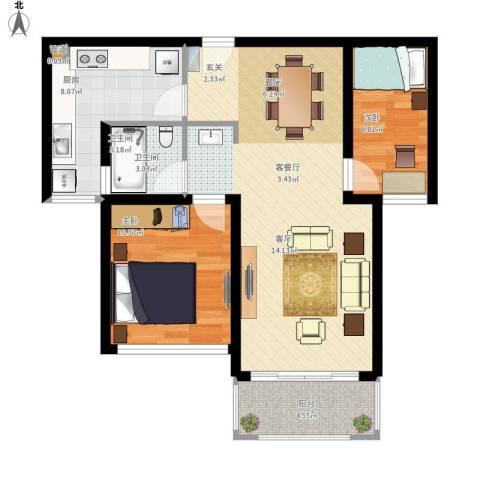鑫苑世家2室1厅1卫1厨88.00㎡户型图