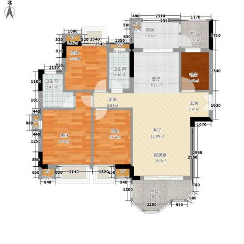 云山熹景4室0厅2卫1厨80.00㎡户型图