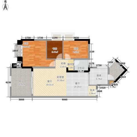 美林湖畔3室0厅1卫1厨96.00㎡户型图