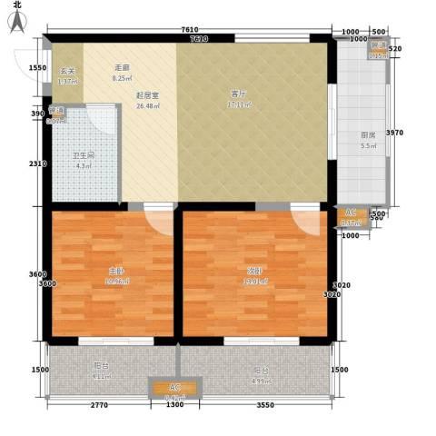 东岸阳光2室0厅1卫1厨101.00㎡户型图