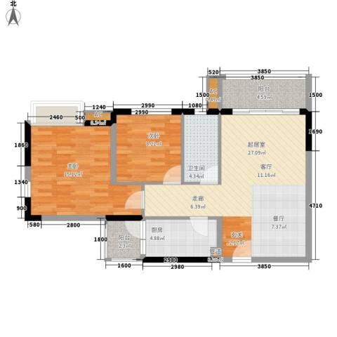 云山熹景2室0厅1卫1厨85.00㎡户型图