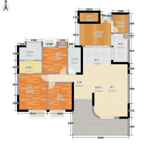 富力天河华庭3室1厅2卫1厨147.00㎡户型图
