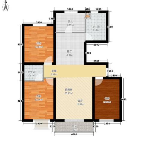 鼎盛花园3室0厅2卫1厨127.00㎡户型图