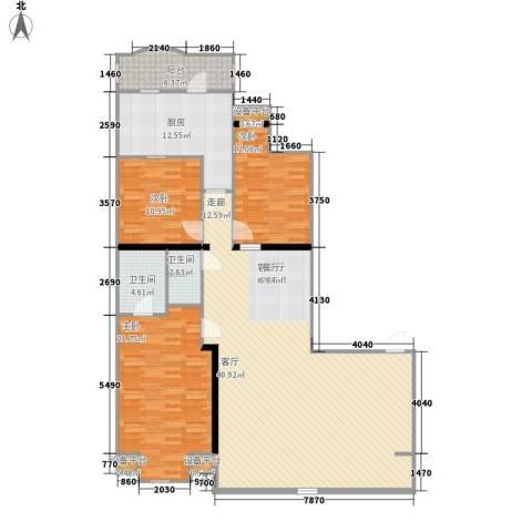 联邦东方明珠3室1厅2卫1厨154.00㎡户型图
