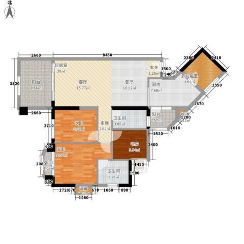 美林湖畔3室0厅2卫1厨121.00㎡户型图