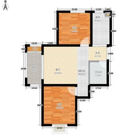 丽湖花园2室0厅1卫1厨69.00㎡户型图