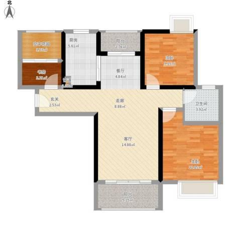 鑫苑世家3室1厅1卫1厨112.00㎡户型图