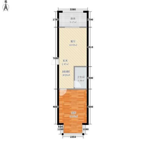 丽湖花园1室0厅1卫1厨58.00㎡户型图