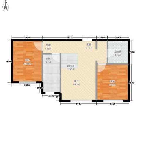 迎江华庭2室0厅1卫1厨73.00㎡户型图