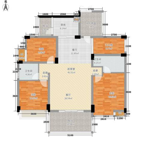 珠江花城3室0厅2卫1厨153.00㎡户型图