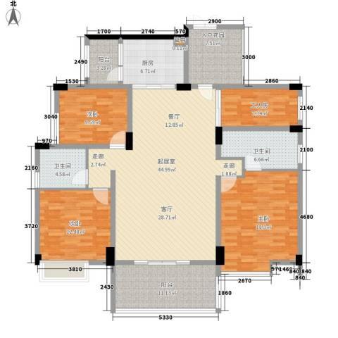 珠江花城3室0厅2卫1厨152.00㎡户型图