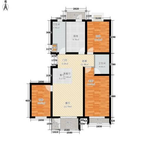 翡翠城3室1厅2卫1厨129.00㎡户型图