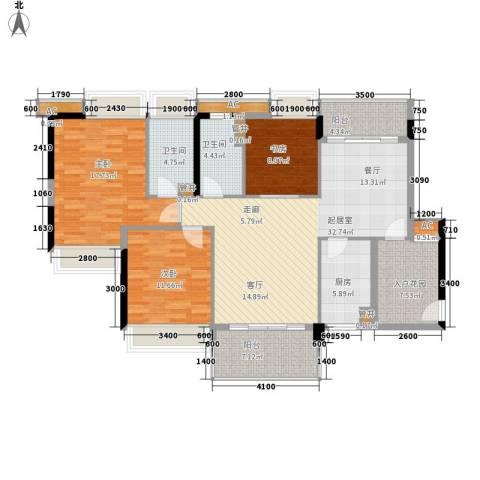珠江花城3室0厅2卫1厨126.00㎡户型图