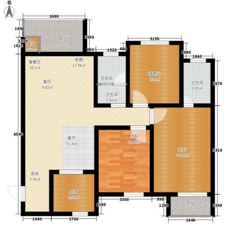 西桃园2室1厅3卫1厨110.00㎡户型图