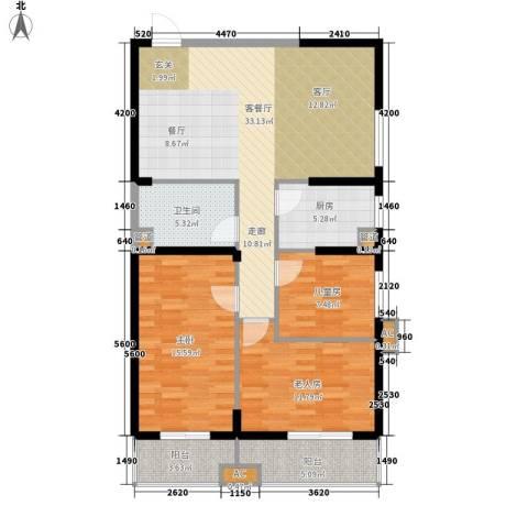 东岸阳光3室1厅1卫1厨123.00㎡户型图