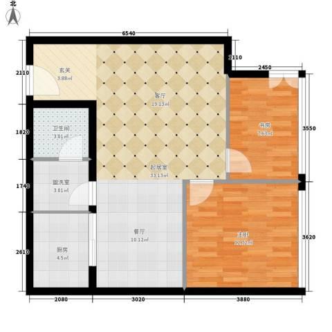 银座晶都国际2室0厅1卫1厨76.00㎡户型图