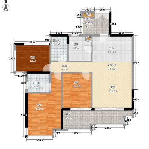 珠江花城3室0厅2卫1厨119.00㎡户型图