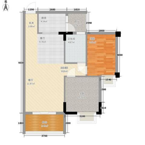 骏辉雅苑2室0厅1卫1厨83.00㎡户型图