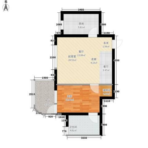 馨乐花园1室0厅1卫1厨66.00㎡户型图