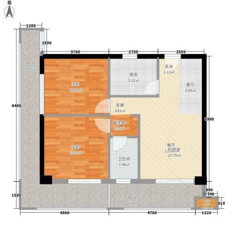 夏日景色2室0厅1卫1厨85.00㎡户型图
