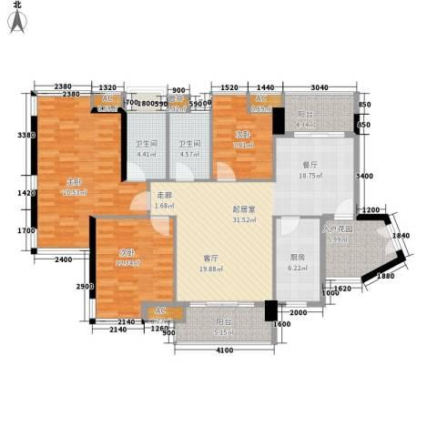 珠江花城3室0厅2卫1厨122.00㎡户型图