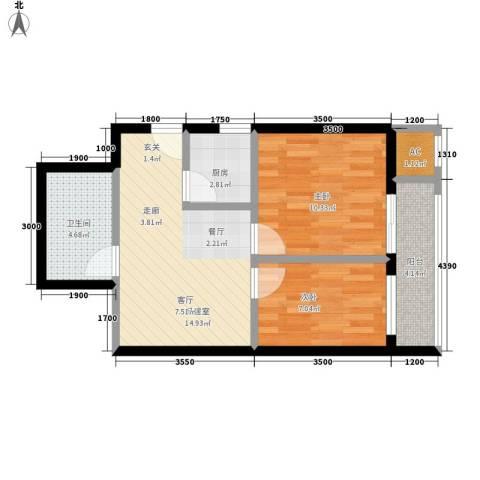 夏日景色2室0厅1卫1厨63.00㎡户型图