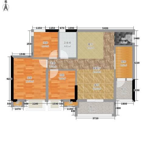 瑜翠园3室1厅1卫1厨87.00㎡户型图