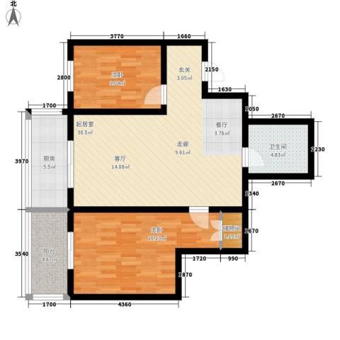 夏日景色2室0厅1卫1厨83.00㎡户型图