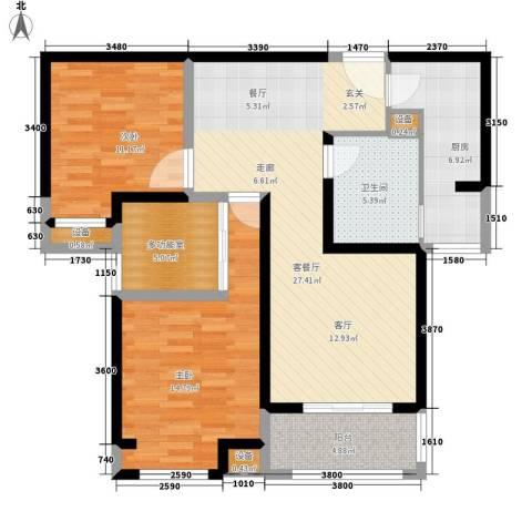 长江丰泽园2室1厅1卫1厨96.00㎡户型图