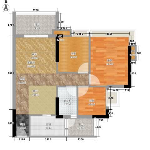 瑜翠园3室1厅1卫1厨88.00㎡户型图
