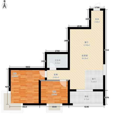 夏日景色2室0厅1卫1厨78.00㎡户型图