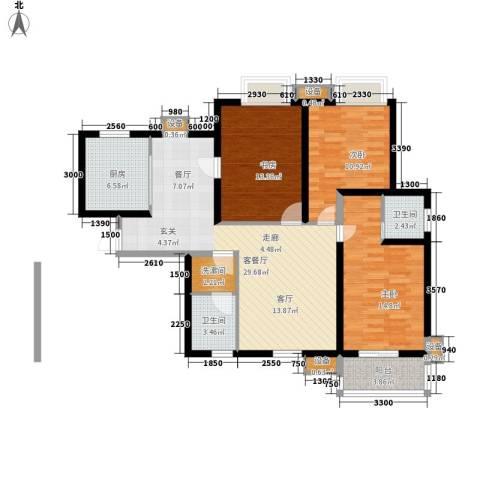 海棠花园3室1厅2卫1厨126.00㎡户型图