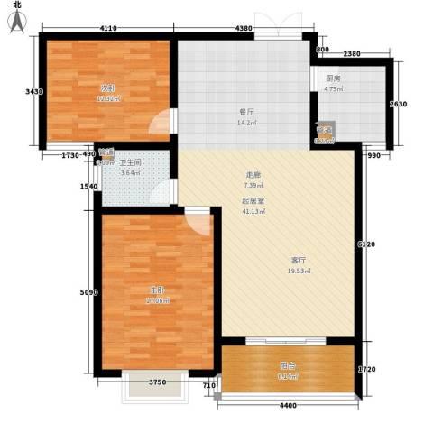 晶彩2室0厅1卫1厨97.00㎡户型图