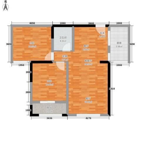 高新水晶岛2室1厅1卫1厨105.00㎡户型图
