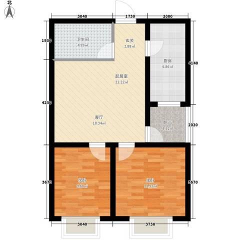 塔元庄园滹沱半岛2室0厅1卫1厨83.00㎡户型图