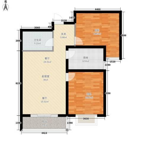 塔元庄园滹沱半岛2室0厅1卫1厨107.00㎡户型图