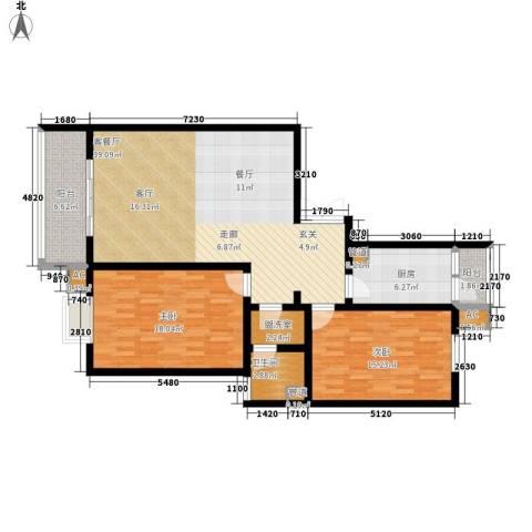 新友合康城2室1厅1卫1厨107.00㎡户型图