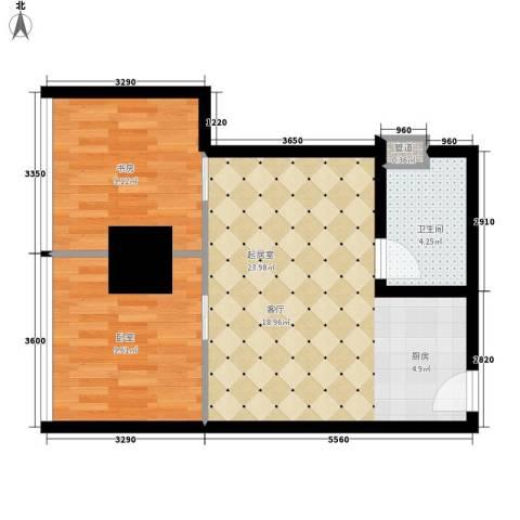银座晶都国际1室0厅1卫0厨60.00㎡户型图