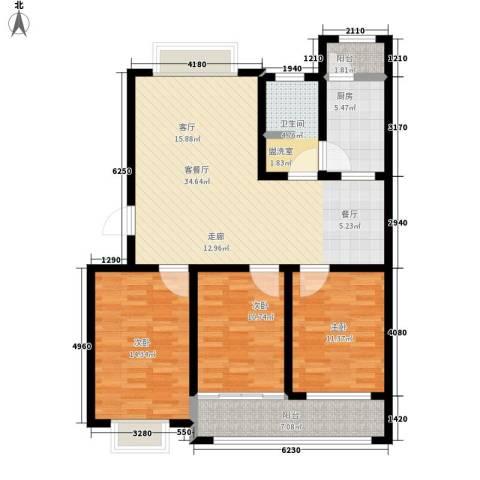 欣雅小区3室1厅1卫1厨104.00㎡户型图