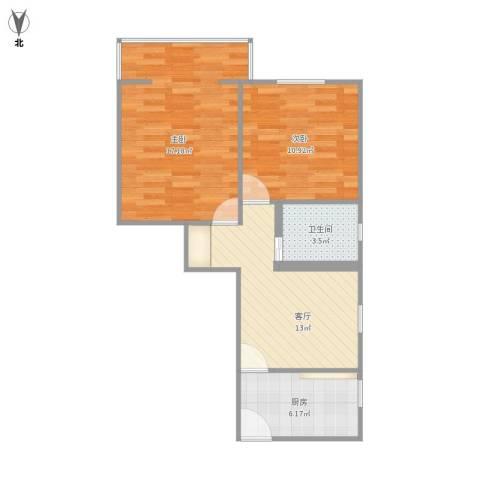 红旗教师公寓2室1厅1卫1厨70.00㎡户型图