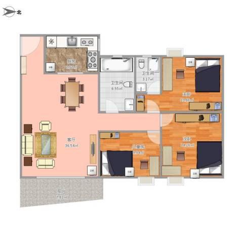裕福花园3室1厅2卫1厨123.00㎡户型图