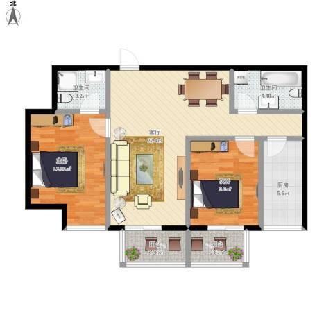 明林庭苑2室1厅2卫1厨99.00㎡户型图