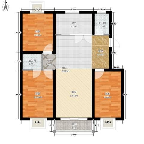 清馨花园3室1厅2卫1厨103.00㎡户型图