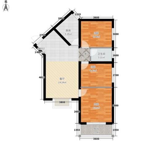 中阳润庭3室1厅1卫1厨97.00㎡户型图