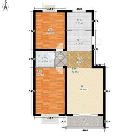 清馨花园2室1厅1卫1厨116.00㎡户型图