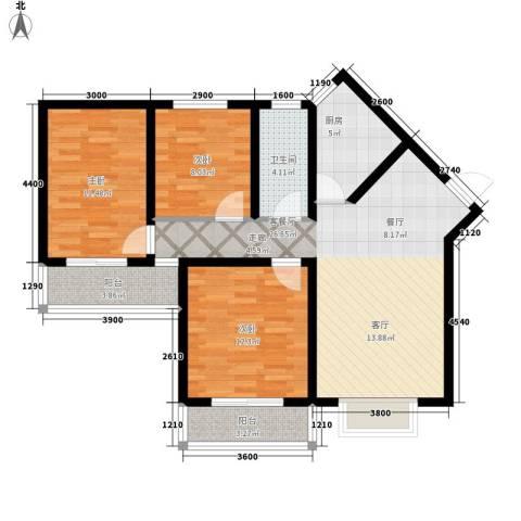中阳润庭3室1厅1卫1厨109.00㎡户型图