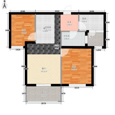 向阳小区2室0厅1卫1厨82.00㎡户型图